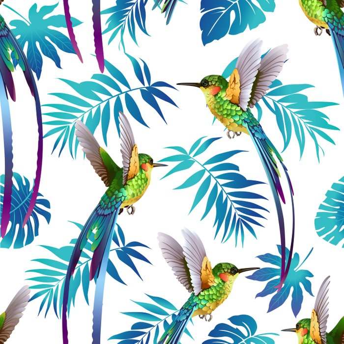 Cute Hummingbird & Tropical Leaves Comforters