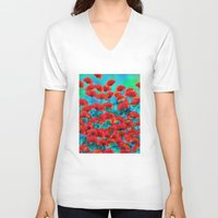 poppies V-neck T-shirts featuring Poppies by Klara Acel