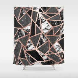 Modern Rose Gold Glitter Marble Geometric Triangle Shower Curtain