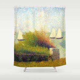 "Georges Seurat ""La rade de Grandcamp (Le port de Grandcamp)"" Shower Curtain"