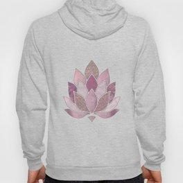 Elegant Glamorous Pink Rose Gold Lotus Flower Hoody