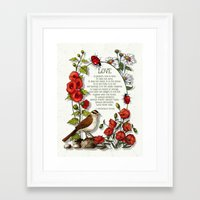 bible verses Framed Art Prints featuring Bible Verses About LOVE, With Bird, Ladybugs, and Floral Art by joyart