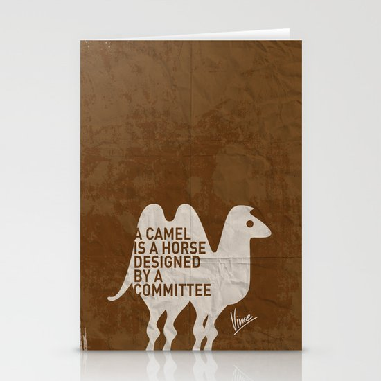 My - A camel is a horse designed by a committee - quote poster Stationery Cards