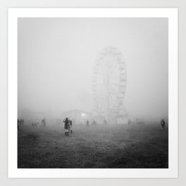 Hazy Ferris Wheel Art Print