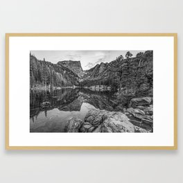 Colorado Dream Lake Black and White Mountain Landscape Framed Art Print