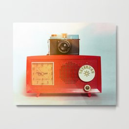 Retro Still Life with Vintage Radio Metal Print