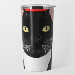 Tuxedo Cat Art Poster by Artist A.Ramos. Designed in Bold Colors. Perfect for Pet Lovers Travel Mug