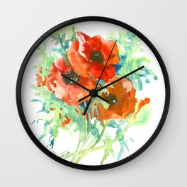 Red Poppies, Red flowers, French Country Wall Clock