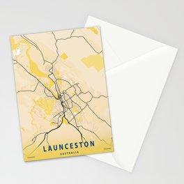Launceston Yellow City Map Stationery Cards