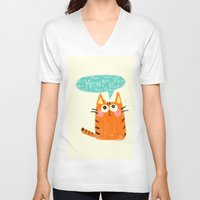 mew V-neck T-shirts featuring mew. by TangerineCafé
