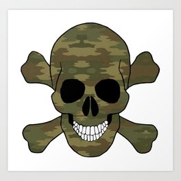 Camouflage Skull And Crossbones Art Print