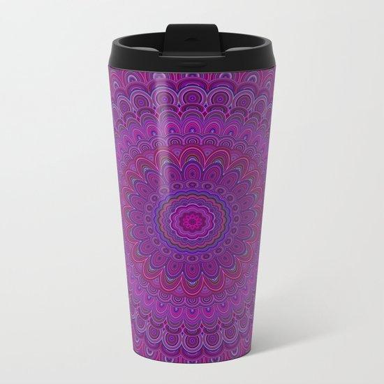 Purple flower mandala Metal Travel Mug