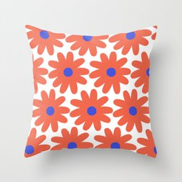 Crayon Flowers 2 Cheerful Smudgy Floral Pattern in Coral, Blue, and White Throw Pillow