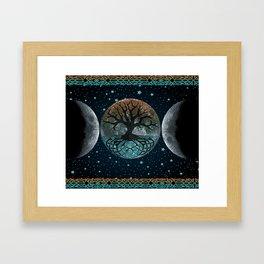 Autumn Esoteric Triple Moon Framed Art Print