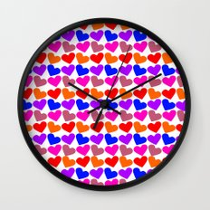 Colorful Hearts Pattern Wall Clock