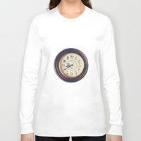 wall clock Long Sleeve T-shirts featuring Old wall clock by Elisabeth Coelfen