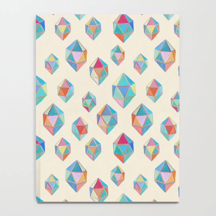 Floating Gems - a pattern of painted polygonal shapes Notebook