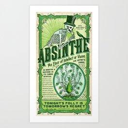 Vintage 1871 Absinthe Liquor Skeleton Advertisement Art Print