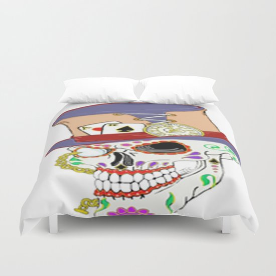 Steam Punk Sugar Skull Duvet Cover