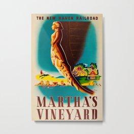 Martha's Vineyard Island Travel Advertising Poster Metal Print