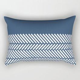 Herringbone Boarder Navy Rectangular Pillow