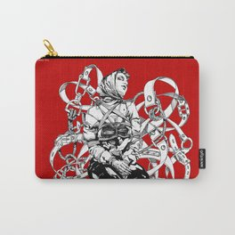 Lady in Belts Fantasy on red.  Yury Fadeev. Carry-All Pouch