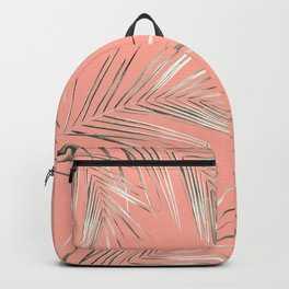 White Gold Palm Leaves on Coral Pink Backpack