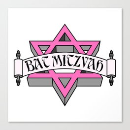Mitzvah with Pink scroll &  Star of David Canvas Print