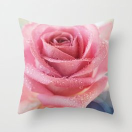 Pink Rose Macro Photograph in vintage pastel tones Throw Pillow