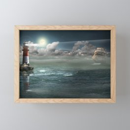 Lighthouse Under Back Light Framed Mini Art Print