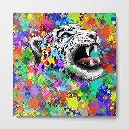 Leopard Psychedelic Paint Splats Metal Print