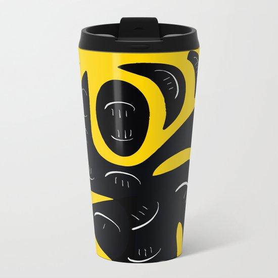 African Yellow abstract minimal and pop art design Metal Travel Mug