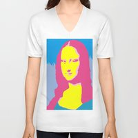 mona lisa V-neck T-shirts featuring Mona Lisa by Becky Rosen