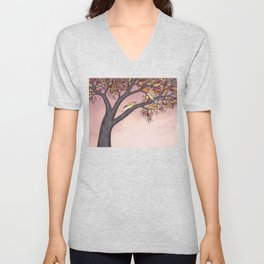 cedar waxwings on the stained glass tree Unisex V-Neck