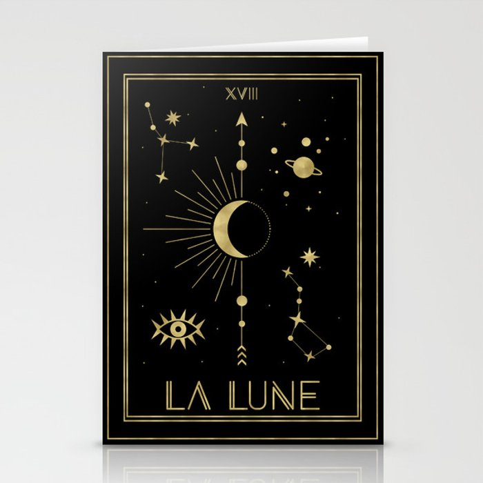 The Moon or La Lune Gold Edition Stationery Cards
