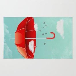 Teal Sky Red Umbrella Rug