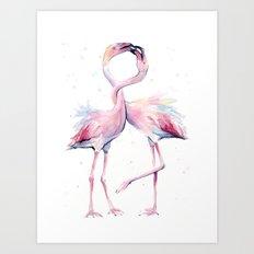 Two Flamingos Watercolor Flamingo Love Art Print