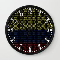 colombia Wall Clocks featuring digital Flag (Colombia) by seb mcnulty