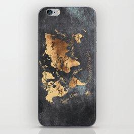 world map 147 gold black #worldmap #map iPhone Skin