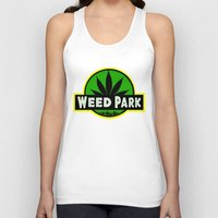 jurassic park Tank Tops featuring Weed Park Jurassic style  by Spyck