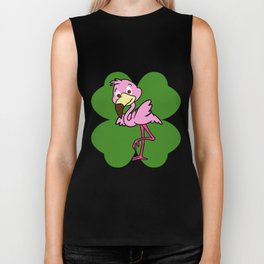 Flamingo On 4 Leaf Clover - St. Patricks Day Pun Biker Tank