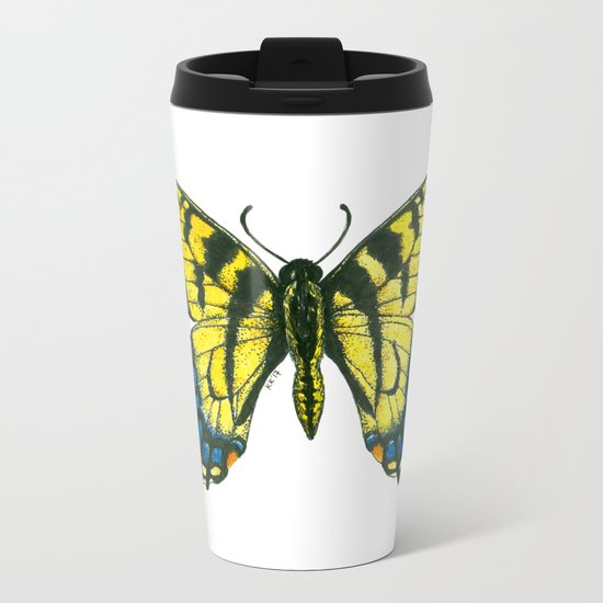Tiger swallowtail butterfly watercolor and ink art, watercolor butterfly, eastern tiger swallowtail Metal Travel Mug