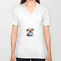 bulldog V-neck T-shirts featuring bulldog by Heathercook