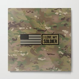 I Love My Soldier (Camo) Metal Print