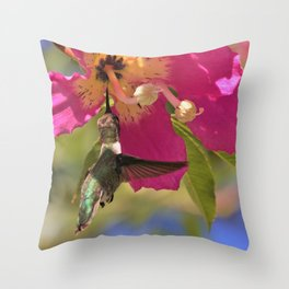 Pretty Pink with Hummingbird by Reay of Light Photography Throw Pillow