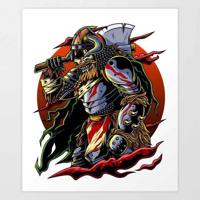 Samurai Viking Warrior Ronin Berserk Armor Axe Art Print By