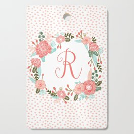 Monogram R - cute girls coral florals flower wreath, coral florals, baby girl, baby blanket Cutting Board