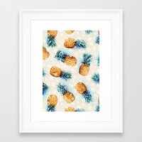 crystals Framed Art Prints featuring Pineapples + Crystals  by micklyn