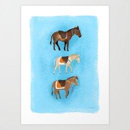 Santorini Donkeys Art Print