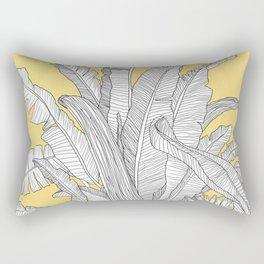Banana Leaves Illustration - Yellow Rectangular Pillow